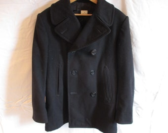 Vinatge Navy Wook Peacoat 38S Military Coat