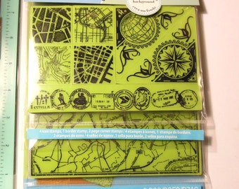 InkadinkaClings Mapped Out  Rubber Stamp Set (8 Pieces) - New