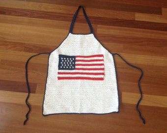 Crochet Patriotic American Flag Full Apron (READY TO SHIP!)