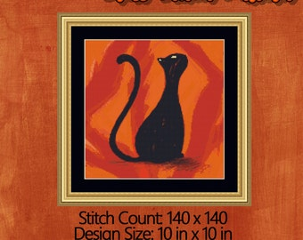 Sophisticated Cat Cross Stitch Pattern - Perfect For Kitty People - Instant Download PDF Design