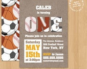 Sports Birthday Party Invitation Digital Printable or Printed, any color any wording any age Soccer Football Baseball Basketball