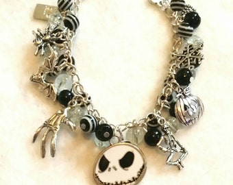 Jack Skellington Nightmare Before Christmas Beaded Charm Bracelet - 2 designs available