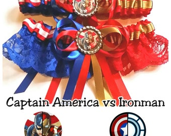 Captain America vs Ironman : Civil War half n half Satin/Satin and Lace Garter/Garter Set - Your choice of embellishment