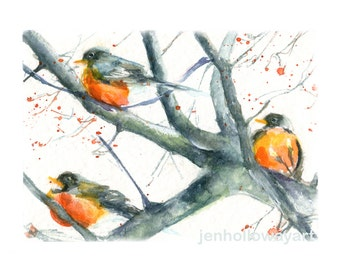 Watercolor Robins, Bird Print, Robins Print, Bird Art, Winter Birds Print