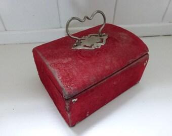 Antique French Jewelry Box Red Velvet Napoleon III Shabby Chic Velvet Box Faded Grandeur Burgundy Interior