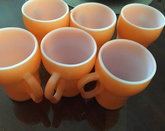 Vintage Fire king  fireking coke cola mugs coffee cups orange -set of six!