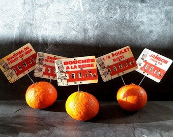5 Vintage Decorative French pricing Tags .kitchen decor .French country decor. Grocery sign display