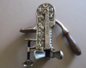Vintage Monterey Brass Cork Screw Hand Crank Wine Bottle Opener Barware