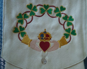 Claddagh Embroidered Belt Pouch / Festival Pouch / Hip Pouch