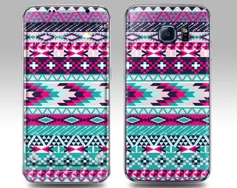 PINK TEAL AZTEC Galaxy Decal Galaxy Skin Galaxy Cover Galaxy S6 Skin, Galaxy S6 Edge Decal Galaxy Note Skin Galaxy Note Decal Cover