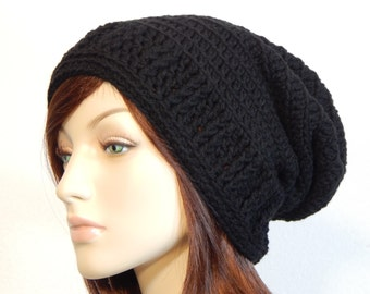 Black Slouch Hat, Slouchy Beanie, Womens Hat, Boho Slouch Hat, Teen Girl Hat, Ellie Slouch Hat, Ask If You Need A Special Color For This Hat