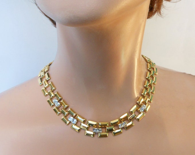 Crystal link choker necklace, 1980s box link gold plated rectangle links with channel set crystal s
