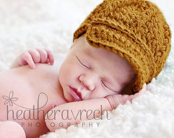 Baby Hat with Brim, Pageboy Style Beanie, ON SALE, SIZE 1-3 months