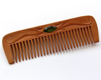 Wooden hair comb, Personalized womens gifts, Wood carving, Wide teeth wooden comb, Natural hair accessory, Designed and Handmade, MariyaArts