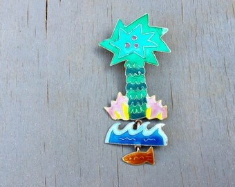 Vintage Palm Tree Brooch Sterling Enamel Island Vacation Pin Zarah Collectible Figural jewelry