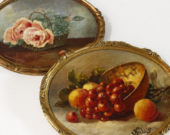 "TWO French Oval Miniature Paintings...8.1/2"" x 6.1/2""....Oil on Board...Gold Frames...Signed, date 1933"