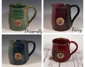 Pottery Coffee Mug -16 oz - Animal Stamp -Choose your color - Choose your Animal stamp image - Made To Order- ceramics - pottery - stoneware