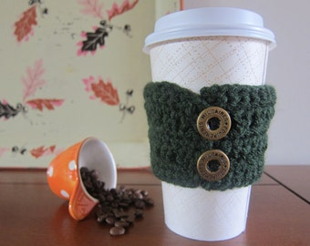 Dark Green Crochet Cozy with Buttons, Button Coffee Cozy, Cup Cozies Crocheted, Coffee Sleeve, To Go Coffee Sleeve, Sleeve for Cups