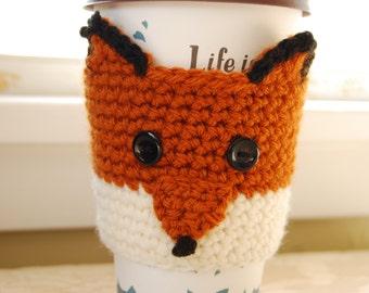 Fox Coffee Cozy, Crochet Coffee Cozy, Crocheted Fox Cozy, Crochet Fox Cozies, Fox Cup Cozy, Animal Cup Cozies, Crochet Animal Cozy