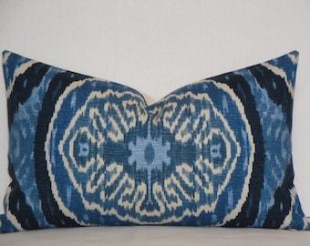 Duralee Masala In Denim -  Decorative Pillow Cover - Indigo Navy Accent Pillow - IKAT Pillow - Lumbar Pillow - Chair Pillow - Sofa Pillow