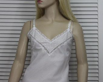 Vintage White Full Slip Cotton Blend Size 36