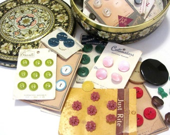 Vintage Button Assortment Plastic Glass Carved Pierced and Shank Novelty Buttons in Tin Storage Container
