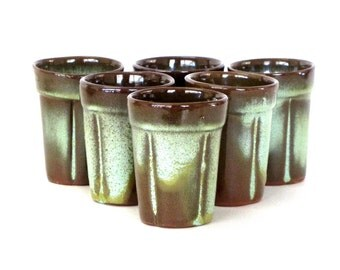 Set of 9 Prairie Green Frankoma Wagon Wheel Set Juice Cups 3 Ounce Green and Brown Breakfast Drink