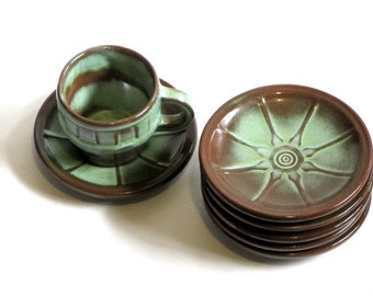 Frankoma Wagon Wheel Art Pottery Prairie Green Small Plate Saucer Bread and Butter Rustic Sapulpa Clay Dinnerware
