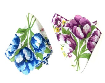 Blue and Purple Tulip Hankie Set Colorful Bright Floral Edge Handkerchiefs in Pink and Yellow Bridal Accessory Something Blue