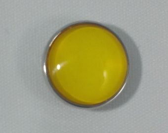 1 PC 18MM Yellow Glass Dome Silver Candy Snap Charm Limited Edition CC0014