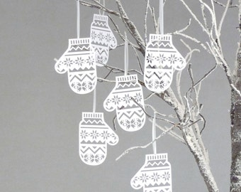 Set of Six Papercut Mitten Decorations