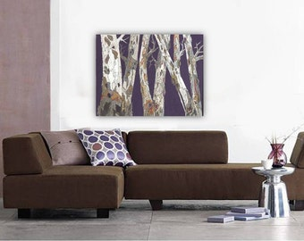 Oversized extra large wall art huge purple living dining room masculine decor Huge Canvas print tree trunk artwork decor office