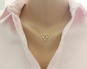 Triangle Necklace, Geometric Necklace, Geometric Jewelry, Minimalist Necklace, Layering Necklace,  Minimalist jewelry, Everyday jewelry