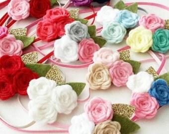 Triple Rose flower hairband. ANY COLOR. Felt Baby Headband, Newborn Headband, Baby Girl Headband