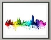 Barcelona Skyline, Barcelona Spain Cityscape Art Print (2458)