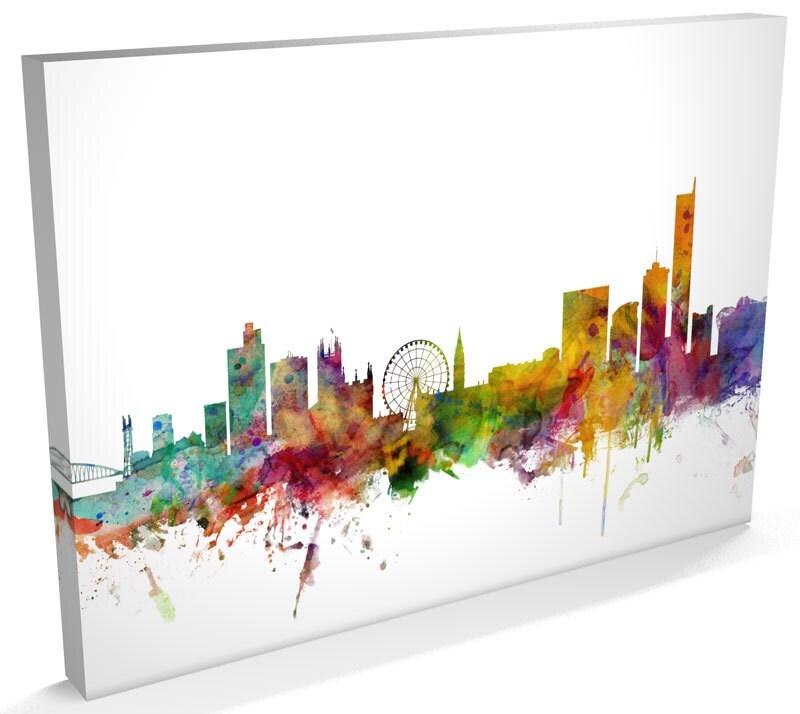 Manchester Skyline Canvas Manchester Cityscape Box Canvas Art