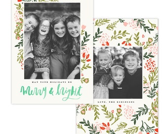 INSTANT DOWNLOAD - Christmas Holiday Card Photoshop template - e1353