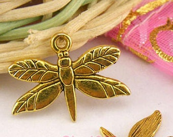 1 Dragonfly Charms Antique Gold 20 x 15 mm U.S Seller - sc144