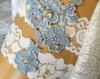 Wedding Garter/Garter/White Lace Garter/Bridal Garter/Wedding/vintage Wedding/ Lace Garter/ Something Blue