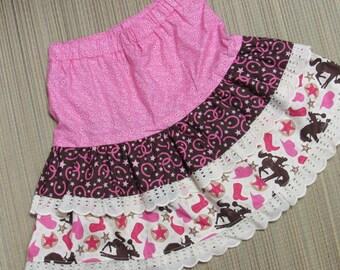 Cowgirl/Glitter Horses/Hearts- Twirly Skirt Set w/Horse/Hearts Glitter Shirt-Size 4/5-Western/Cowgirl/Glitter Horses Set-Too Cute!
