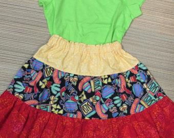 Fiesta/Chili Pepper Twirly Skirt Set w/ Shirt-Size 7/8-Lime Green/Red/Orange/Yellow/Black-Too Cute!