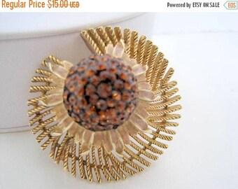 Topaz Brooch-  Rhinestone Domed - Gold Tone Pin