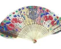 19th Century Chinese Hand Held Fan Victorian Oriental Fan Vintage Vanity Vintage Fan Vintage Accessory Vintage Grooming Victorian Fan