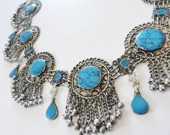Turquoise tribal vintage belt