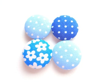 Blue Magnets, Fabric Magnets, Fabric Button Magnets, Fridge Magnets, Flower Magnets, Polka Dot Magnets, Eco Friendly Magnets, Teacher Gift