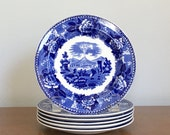 Vintage Wedgwood Plates Blue White Porcelain Set of Six Wedgwood Landscape Etruria Appetizer Dessert Plates