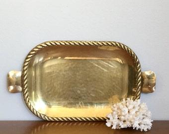 Vintage Brass Tray Valet Tray Small Brass Rectangular Tray Rope Trim
