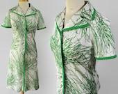 70s Kay Windsor Novelty Print Dress Green Grass Shift Dress Mod