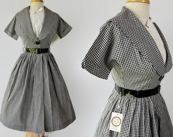 50s Coquette Shirtwaist Dress Deadstock Black Gingham