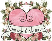 Valentines Custom Vintage Heart Temporary Tattoo: Add Your names in Hearts